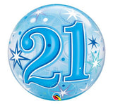 21st Balloon - Bubble Blue