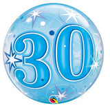 30th Balloon - Bubble Blue