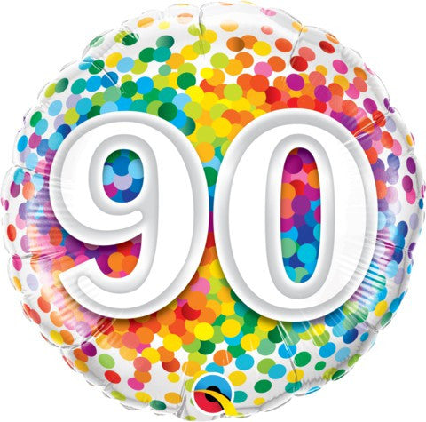 90th Bithday Balloon - confetti Fol Balloon