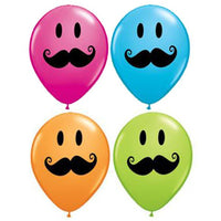 Moustache Balloons Assorted - Singles or Packs - Helium Filled or Flat