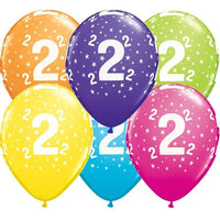 2nd Birthday Balloons Assorted - Single or Pack - Helium Filled - Flat