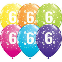 6th Birthday Balloons Assorted - Single or Pack - Helium Filled - Flat