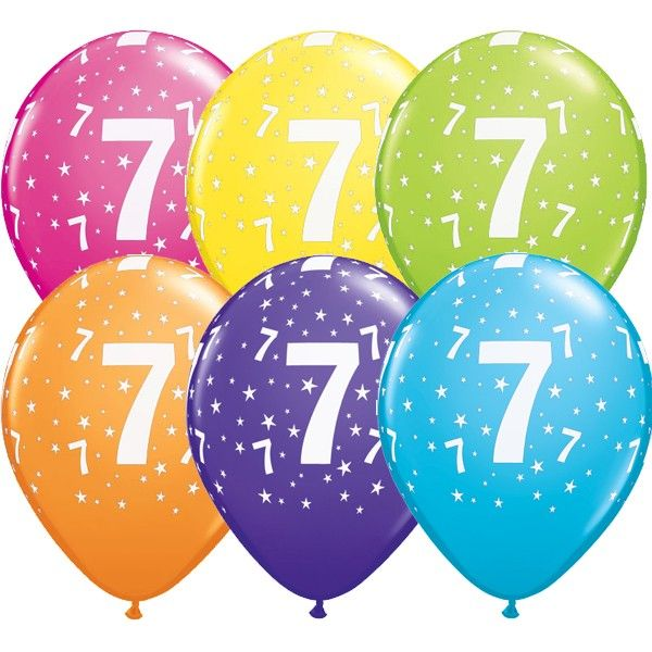7th Birthday Balloons Assorted - Single or Pack - Helium Filled - Flat