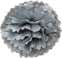Tissue Paper Puff Ball - Silver / Grey
