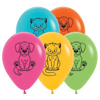 Dogs & Cats Balloons Assorted - Singles or Packs - Helium Filled or Flat