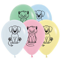 Dogs & Cats Balloons Pastel Assorted - Singles or Packs - Helium Filled or Flat