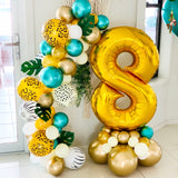 Large Number Balloon with Garland | Jungle Theme