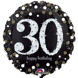30th Balloon - Black & White Sparkling