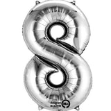 Large Number 8 Balloon - Silver 86cm