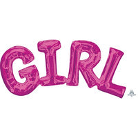 Word Girl Balloon - Pink - Air Fill Only (small)