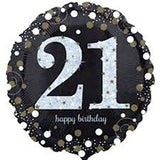 21st Birthday Balloon - Black & White Sparkling