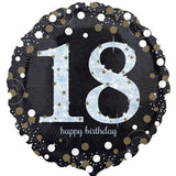 18th Birthday Balloon - Black & White Sparkling