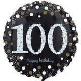 100th Birthday Balloon - Silver & Black
