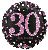 30th Birthday Balloon - Pink & Black Sparkling