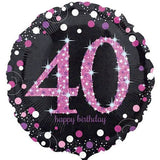 40th Birthday Balloon - Pink & Black Sparkling