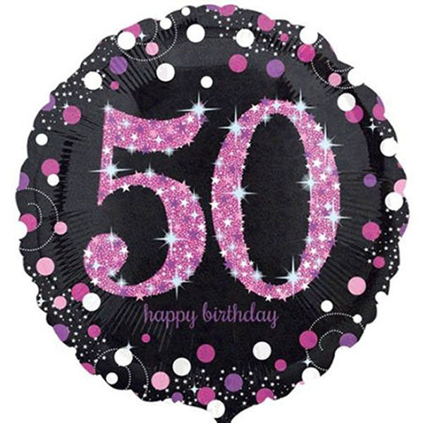 50th Birthday Balloon - Pink & Black Sparkling