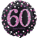 60th Birthday Balloon - Pink & Black Sparkling