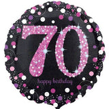 70th Birthday Balloon -  Pink Sparkling Happy Birthday
