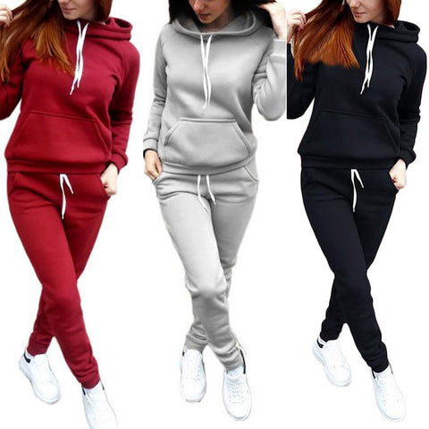 2018 Women's Hooded Sports Suits Sexy Sportswear 2 Piece Set Sportswear Jogging Tracksuit For Women