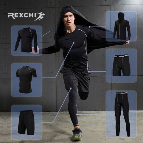 REXCHI Men's Tracksuit Compression Sports Suit Gym Fitness Clothes Running Jogging Sport Wear Training Exercise Workout Tights