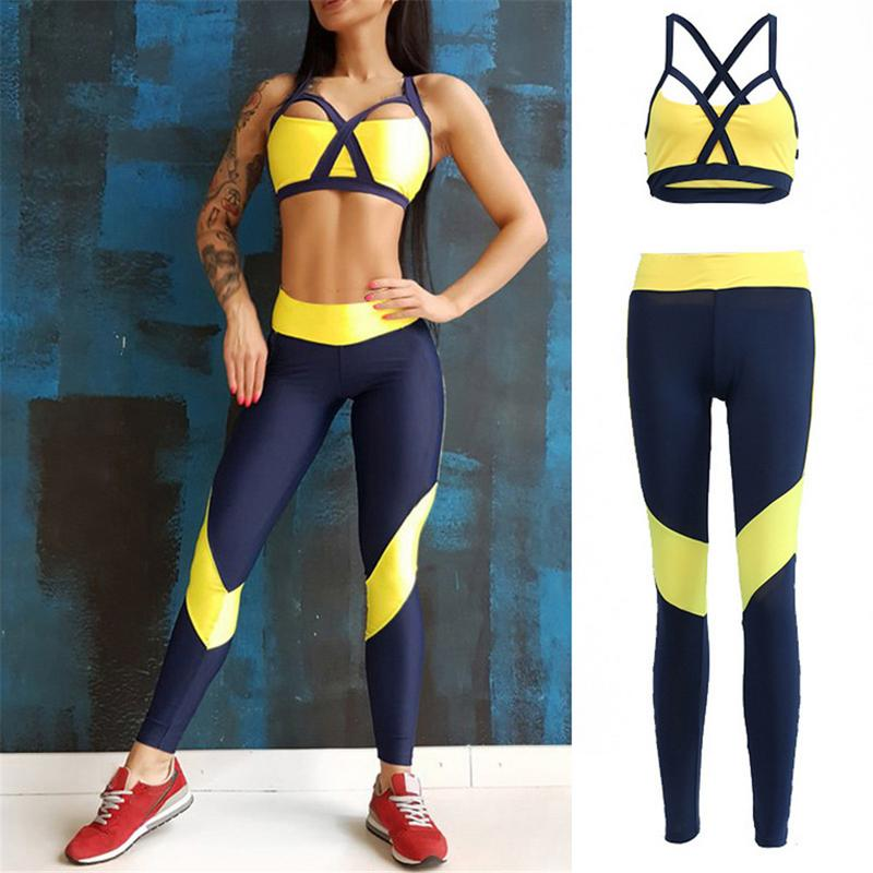 Women Tracksuit Sport Suit Yoga Set Fitness Gym Woman Sportswear Workout Kit Sports Bra Leggings Female Clothing Yellow