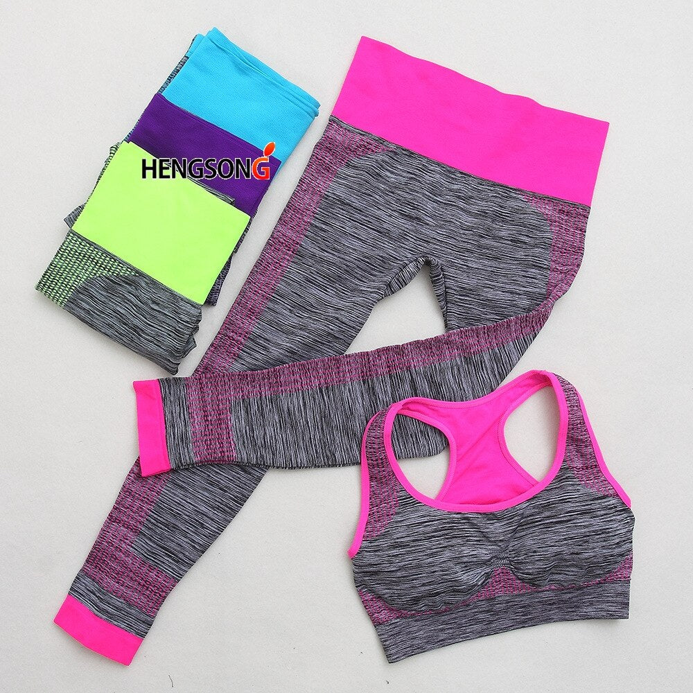 2 Pieces/Set Women Sporting Set Crop Tops + Skinny Legging Capri Pant Sports Sets For Women Fitness Gym Running 2pcs Clothing