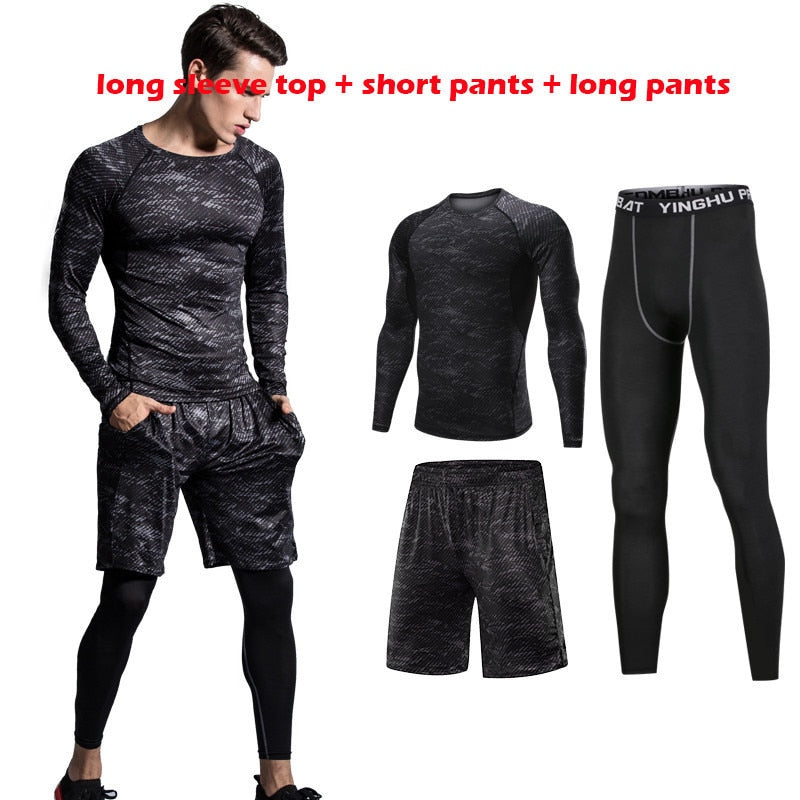 Men Sportswear Black Compression Sports Suit Elastic Tracksuit Breathable Workout Clothes Jogging Fitness Training Running Set