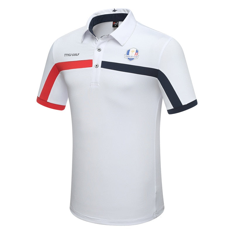 Mens Summer Short Sleeve Golf Shirts Breathable Training Sports Shirts Male Quick Dry Turn Down Neck Tennis Sportswear D0653
