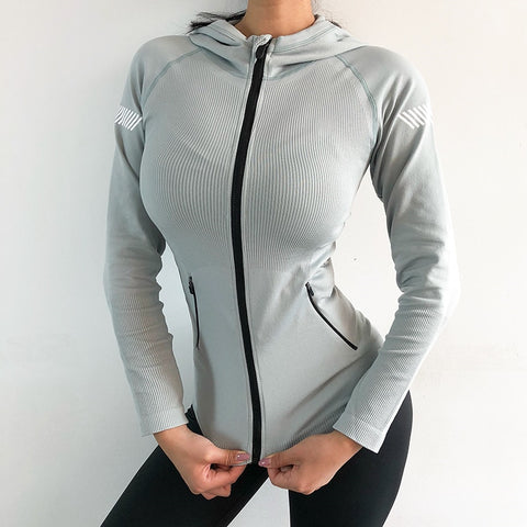 Women Running Jacket Yoga Zipper Long Sleeve Women Sport Jacket Fitness Ladies Hoodies Sports Women Clothing Yoga Sports Jacket
