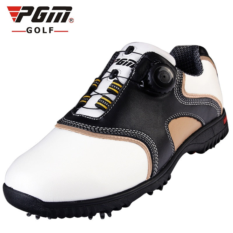 Pgm 2018 New Golf Shoes Male First Layer Of Leather Activities Nail Automatic Rotation Shoelace Waterproof Super-fiber Fabric
