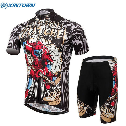 XINTOWN Men's Summer Short Sleeve Cycling Jersey Ropa Ciclismo MTB Bike Bicycle Shirt Sportswear Hockey Skull Bib Shorts Sets