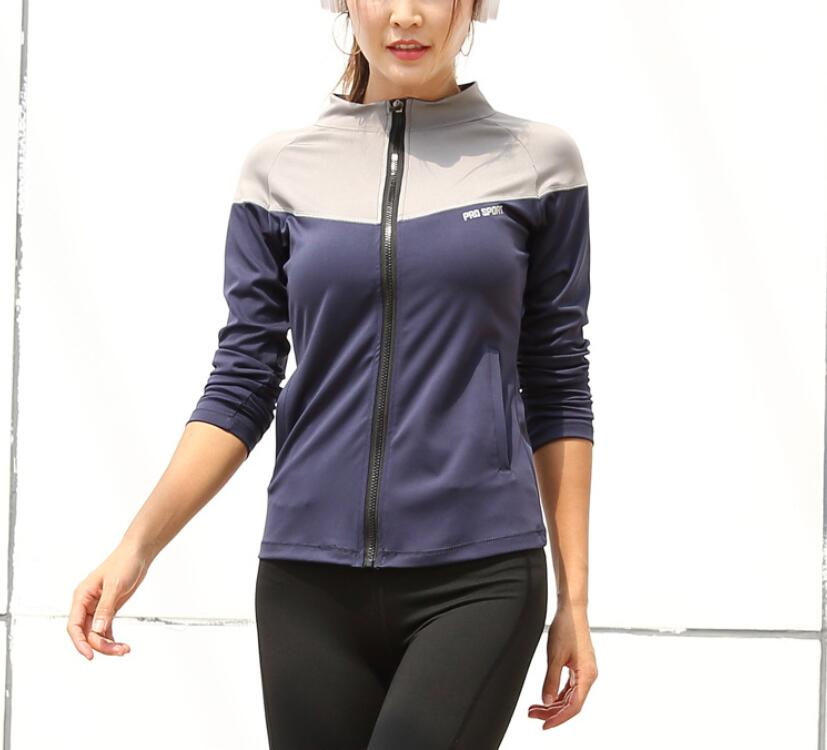 Color collision splicing sports loose coatstand-up collar Zipper  jacket  Fitness training long sleeve quick-drying yoga tops