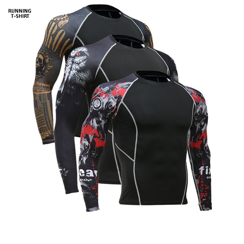 3D Print T-Shirt Men's Gym Running Shirt Compression Tights Breathable Long Sleeve Sports Rashguard Jersey Free Shipping
