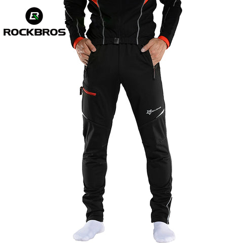 ROCKBROS MTB Pants Cycling Men Women Pants Winter Long Bike Pants Fleece Sports Running  Windproof Reflect Outdoor Trousers