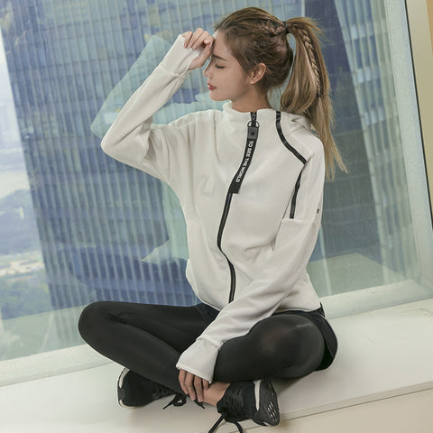 Women Student Girl Sports Yoga Running Zipper Jacket Fitness Tracksuits Training Coat Long Sleeve Sweatshirts Ladies Outdoor Top