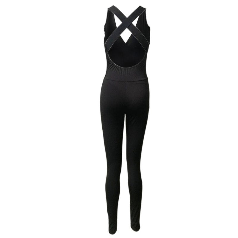 2019 Women Sexy Yoga Workout Gym Sports Fitness tight Leggings Pants Jumpsuits Athletic Training Clothes Pants Cross Straps Bra