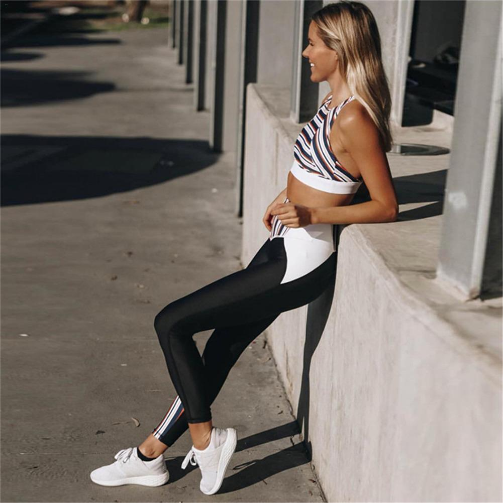 New 2PCS Strips Stitching Yoga Set Sport Bra&Pants Women's Suit Sportswear For Women  Yoga Leggings Fitness Clothing Sports Top