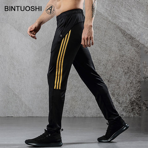 BINTUOSHI Breathable Sport Pants Mens Running Pants With Zipper Pockets High Elasticity Training Joggings Fitness Pants For Men