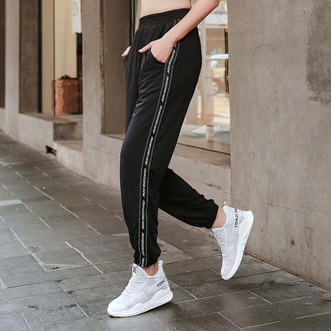 Sport Pants Women Loose Long Gym Trousers Elastic Walking Pantalon Jogging Femme Big Size Athletic Breathable Striped Running