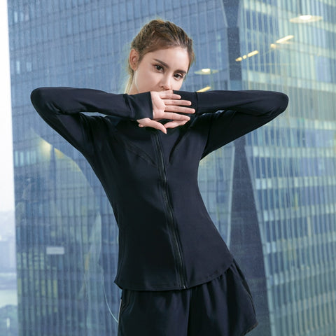 UVINI Women Running Jackets Long Sleeve Shirts Sport Outdoor Coat Zipper Sweatshirts Gym Fitness Tops Ladies Sportswear