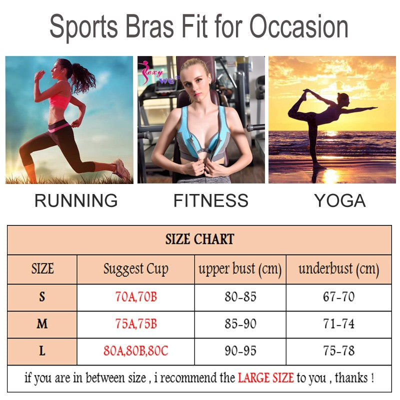 SEXYWG Women Zipper Push Up Sports Bras Shockproof  Underwear Running Vest Gym Workout Running Tops Sportswear Yoga Sport Top