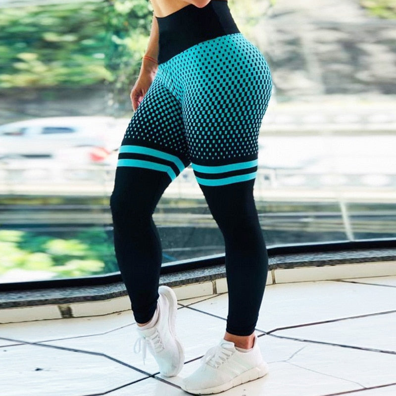 New High Waist Elastic Yoga Pants Energy Seamless Leggings Sport Women Fitness Gradient Running Training Gym Tights Leggings