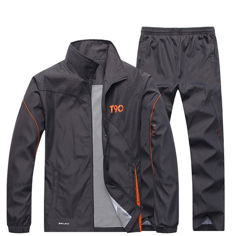 JEASS Men Sports Suits Men's Tracksuit Running Suits with Zipper Pockets Plus Size Men Sport Suit Mens Jogging Tracksuit Sets