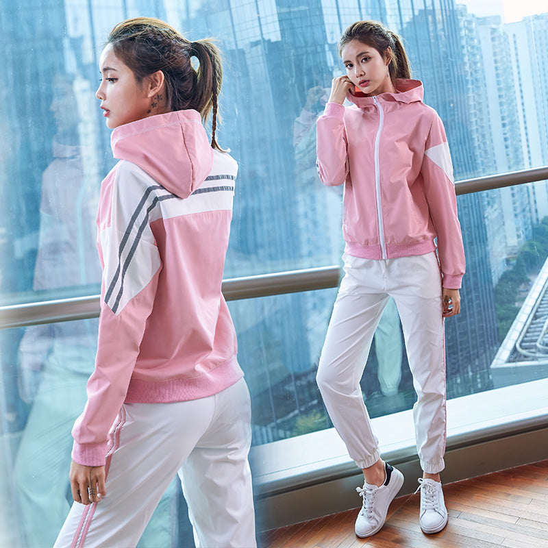 Women's Sports Suit 2PCS/Sets(Hit the color stitching loose Coat+Sport Pants) Female Sportswear Gym Fitness Clothes Sporty Sets