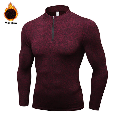 Men's Thermal Fleece Running Jacket Winter Outdoor Workout Sports Coat Warm Down Jackets Boys Gym Jogging T-Shirts Basic Jackets