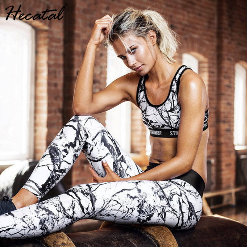 Printed Breathable Yoga Sets Sexy Women Sportswear Halter Bra & Leggings Tight Fitness Sports Suit Yoga Set Tracksuit for Women
