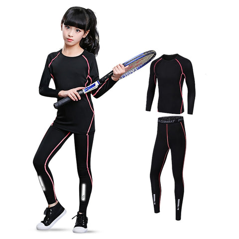Kids Sports Set Compression Jersey+Pants Children Rashguard Boys Girls Running Basketball Dance Teenagers MMA Tight Sportswear