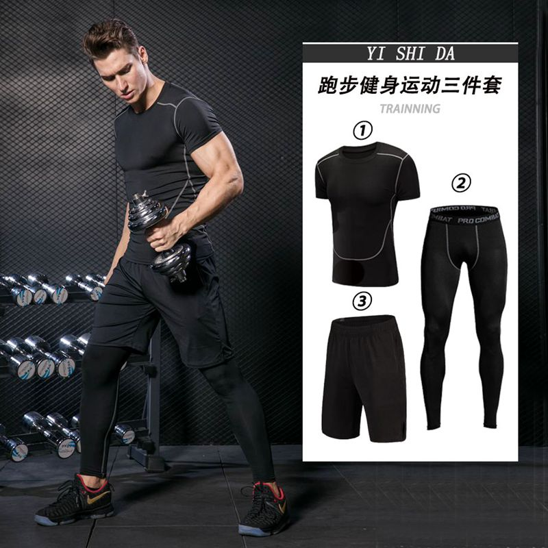 Mne's Gym Suits mens Sportswear Running clothes Fitness sportman sets Compression suit Running jumper Tracksuits active wear men