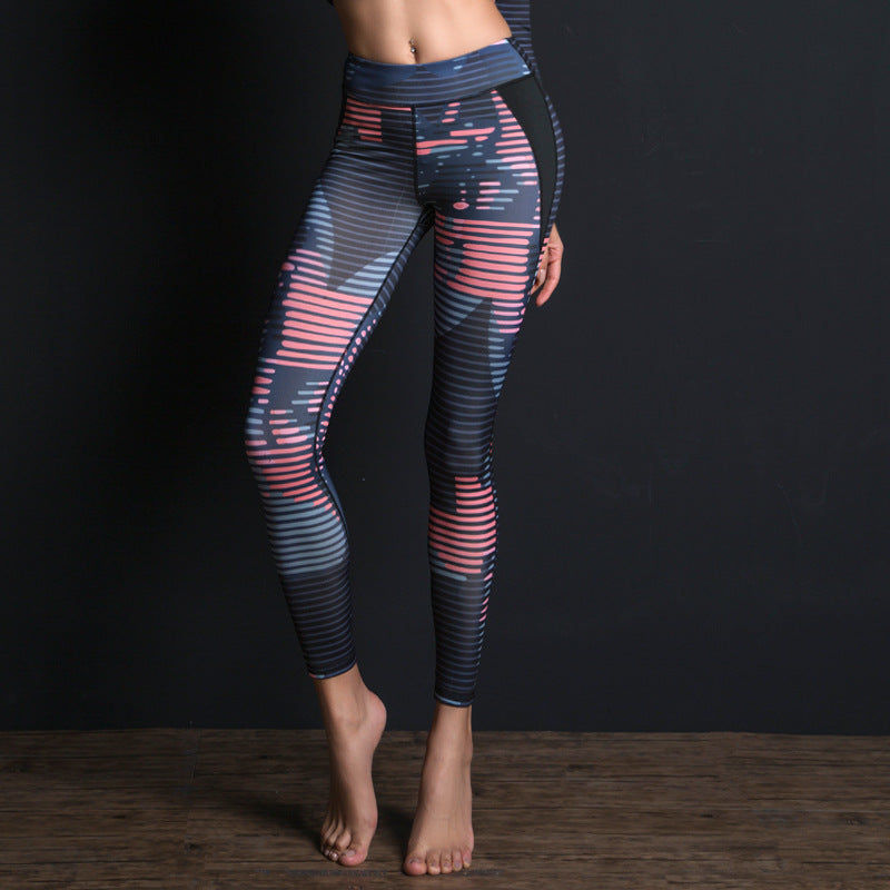 Women Sport Suit Print Fitness Set Elastic Slim Gym Clothes Breathable Yoga Set 2 Pc Sportswear T-shirt Sport Leggings Tracksuit