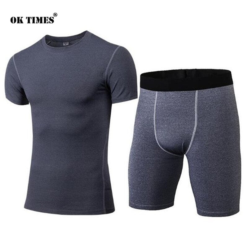 #0304 Sport Training Men Boys Jogging High Elasticity Gym Fitness Compression Thermal Tights Quick Dry Top + Shorts Sets S~XXL